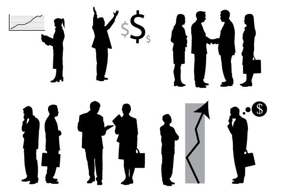 business people images. vector business people with charts
