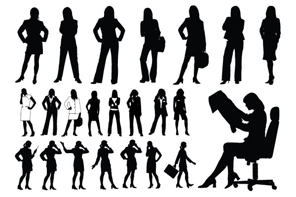 professional women girl silhouettes