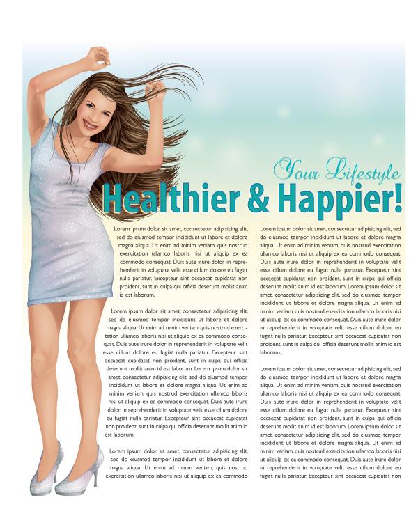 create a happy illustration for a magazine article design