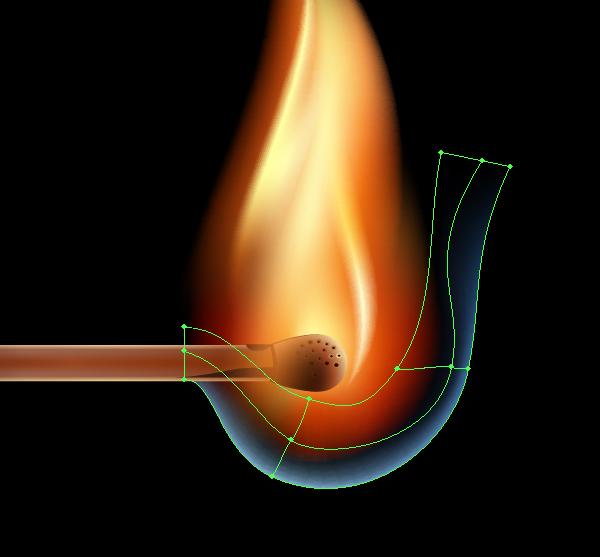 Как создать горящую спичку используя Gradient Mesh *